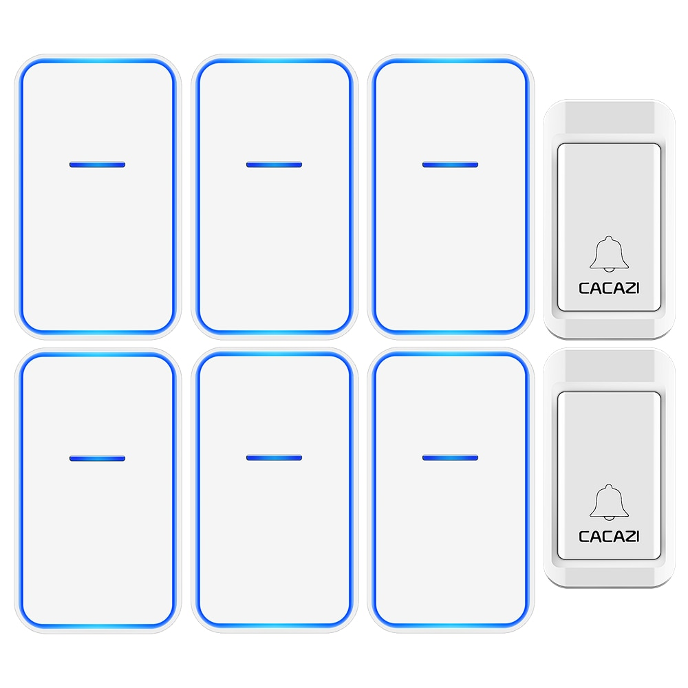 CACAZI No Battery Required Wireless Doorbell 2 Button 6 Receiver Self-powered Waterproof LED Night L