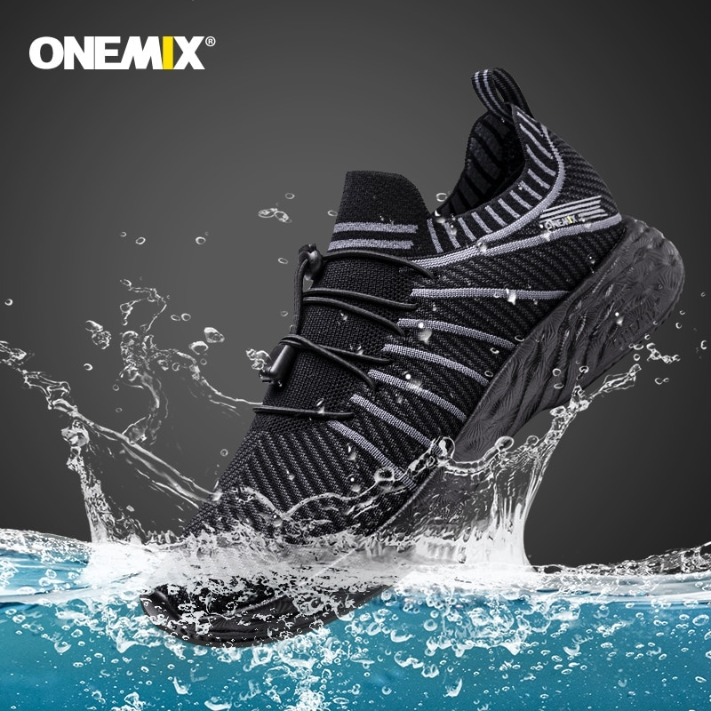 ONEMIX-Zapatillas de correr para hombre transpirables e impermeables, calzado deportivo antideslizante para senderismo, para exteriores, color negro, novedad de 2020