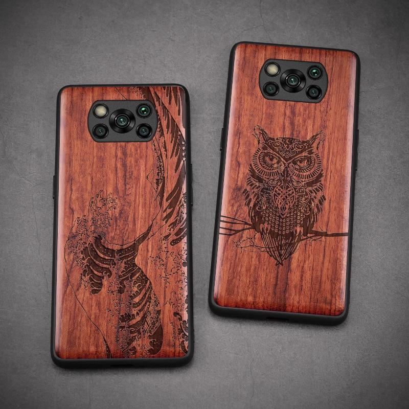 Carved Wood Case For Xiaomi POCO X3 NFC Shockproof Case TPU Cover For Xiaomi POCO X3 NFC Case Wood Shell poco x3 nfc