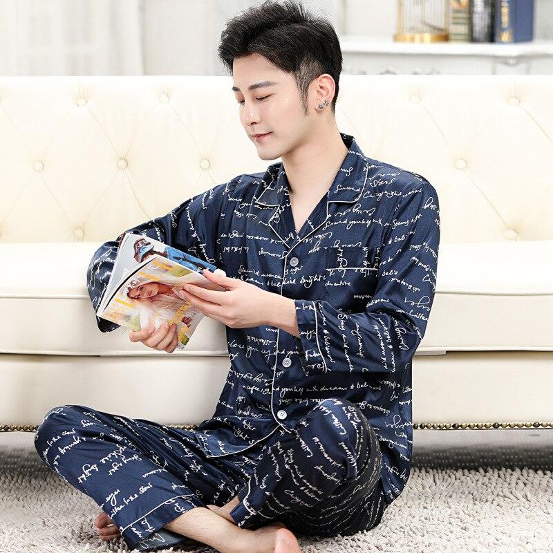 Лето одежда для сна мужчины% 27 пижамы комплекты имитация шелк пижама для мужчин +мягкий уютный дом одежда одежда пижамы мужчины одежда пижама топы