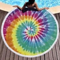 round beach towel tie dye printing beach blanket large microfiber bath towel tassel yoga towel super soft and super absorbent