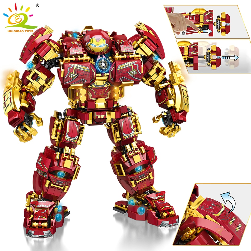 HUIQIBAO 1450PCS City War Super Armor Robot Building Blocks Military Warrior Mecha Figures Weapon Bricks Toys Man For Children