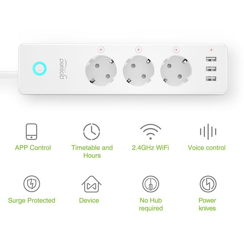 Gosund تويا واي فاي قطاع الطاقة مع معيار الأوروبي الأبيض Gosund + تويا APP واي فاي الاتحاد الأوروبي 3 منافذ USB متعددة المكونات مع أليكسا جوجل الرئيسية