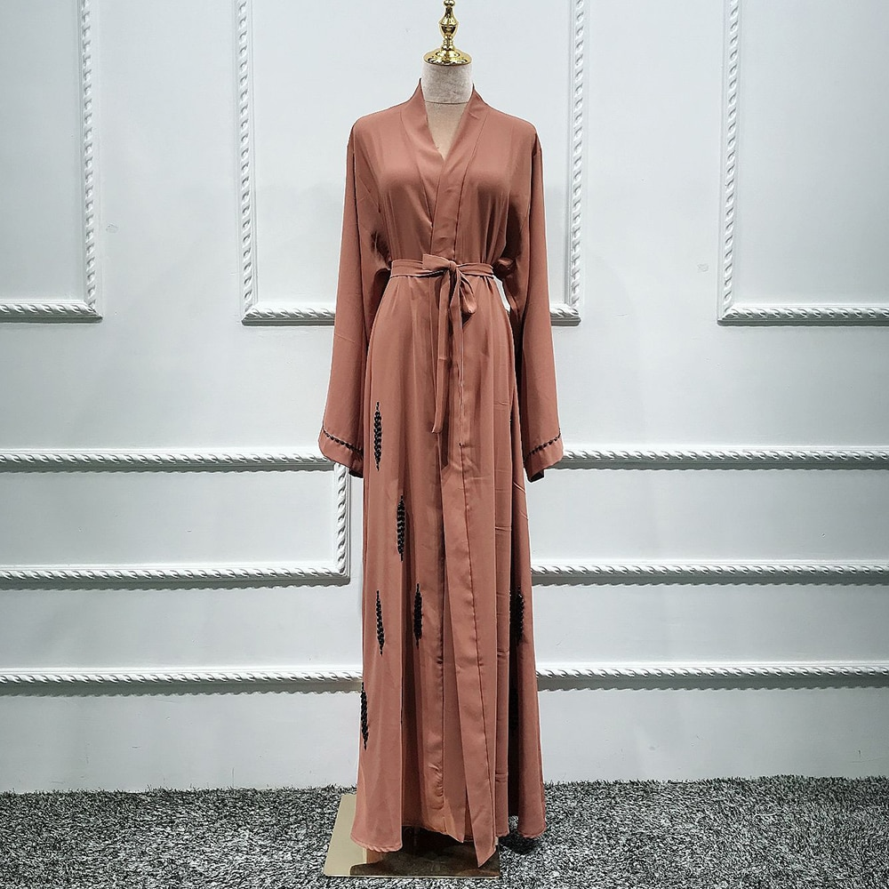 Siskakia fait à la main perlé islamique Kimono Abaya robe Ramadan Eid 2020 mode dubaï turquie moubarak maroc Cardigan Abaya marron