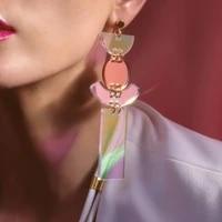 punk laser color acrylic drop earrings for women girls geometric rectangle round long earrings fashion nightclub party jewelry