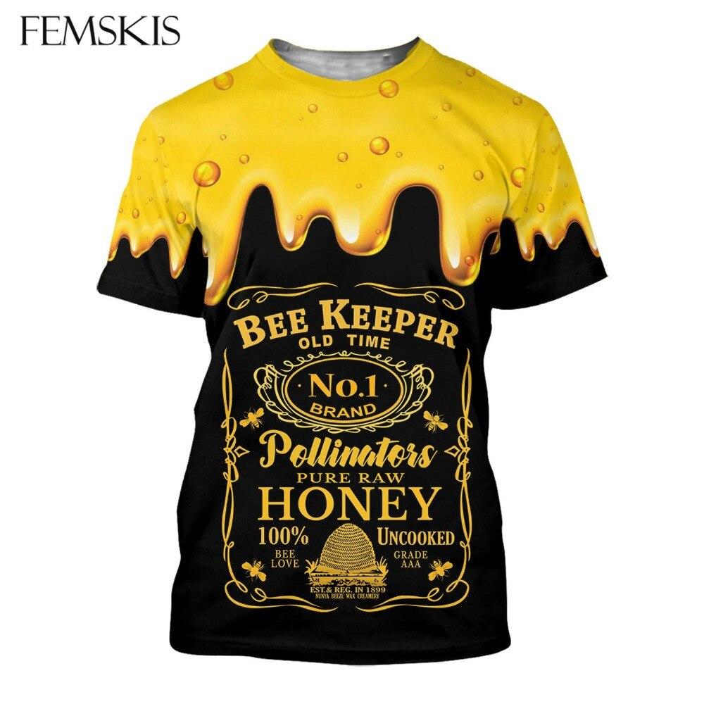 Camiseta para hombre con estampado de abeja 3D de femscis, camiseta de moda Honey Harajuku, camiseta Unisex informal de verano, camiseta, camiseta, ropa divertida