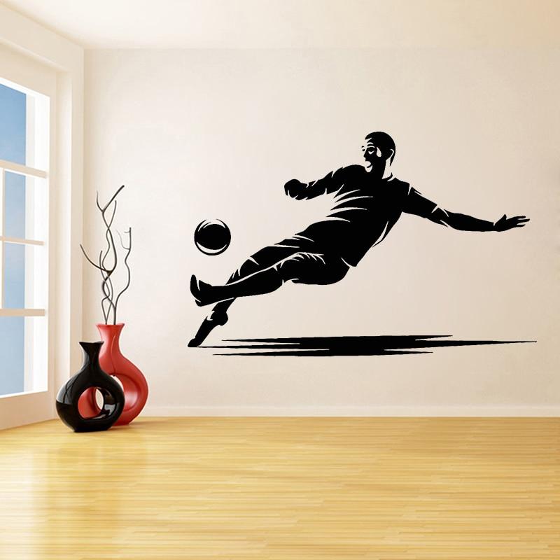 Calcomanía de vinilo para pared, jugador de fútbol, equipo de fútbol, pelota deportiva, pegatinas de juego para pared para habitación de niños, accesorios de decoración para habitaciones C026