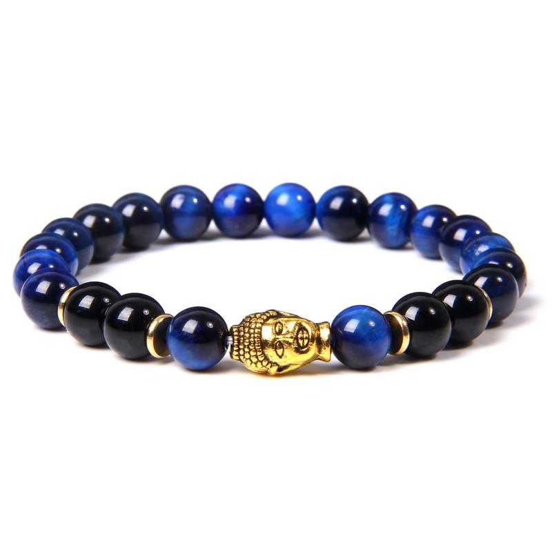 Men Bracelet Natural Stone lapis lazuli Blue Tiger Eye Beads Bracelet Fashion Gold Buddha Head Charm Bracelet Prayer Jewelry Mal