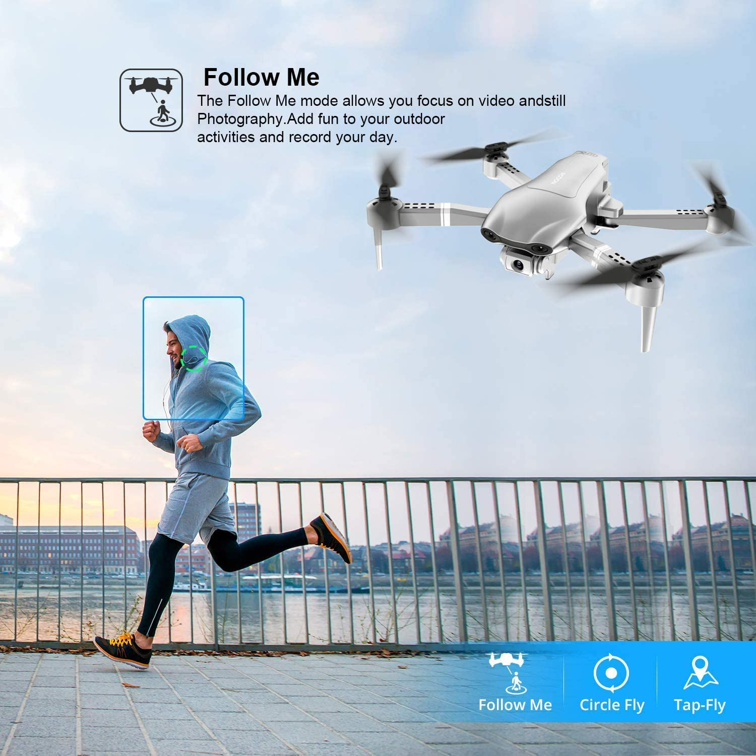 4DRC F3 drone GPS 4K 5G WiFi live video FPV quadrotor flight 25 minutes rc distance 500m drone HD wide-angle dual camera enlarge
