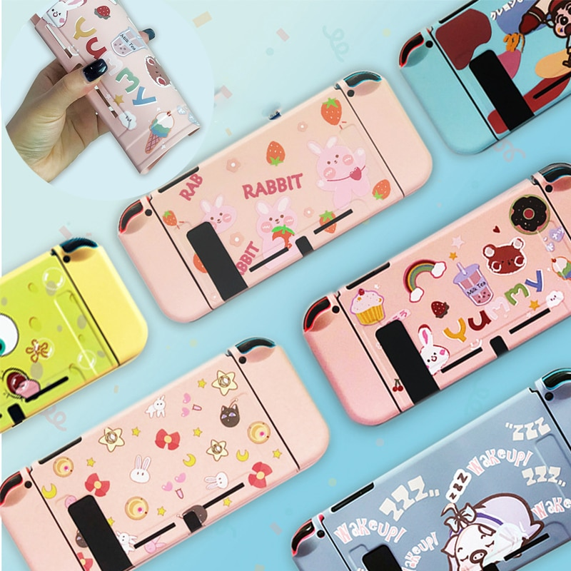 For Nintend Switch Case Cute Cartoon Full Cover Shell Joy-Con Controller Shell Hard TPU Cover Box For Nintend Switch Accessories