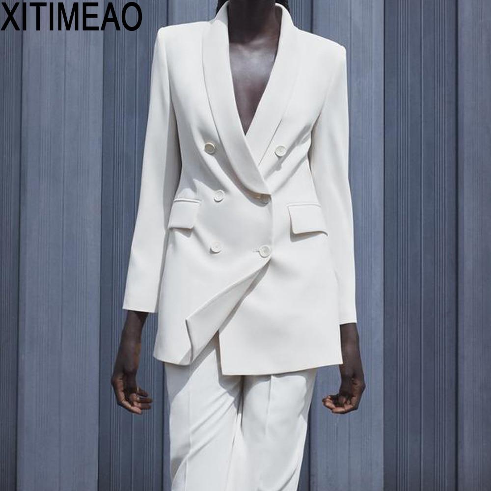 ZA Women 2020 ملابس مكتب أنيقة سترة مزدوجة الصدر معطف Vintage جيوب طويلة الأكمام ملابس خارجية نسائية أنيقة