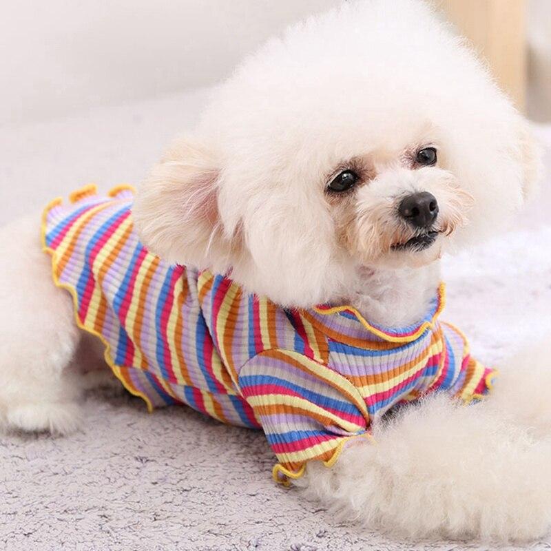 Chaleco de rayas para perros Gato, suéter de dos patas arcoíris, duradero, suave, cómodo, transpirable, ropa para mascotas