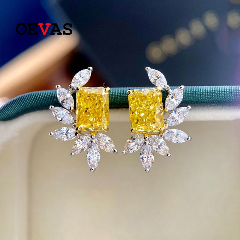 Promo OEVAS 100% Sterling Silver Pink High Carbon Diamond Stud Earrings For Women Sparkling Wedding Party Fine Jewelry Wholesale