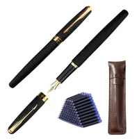 baoer 388 classic matte black business medium nib fountain pen new silver golden trim 0 5mm nib