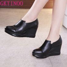 GKTINOO 2020 printemps en cuir véritable femmes pompes plate-forme compensées orteils pointus bouche profonde noir talons hauts femmes chaussures