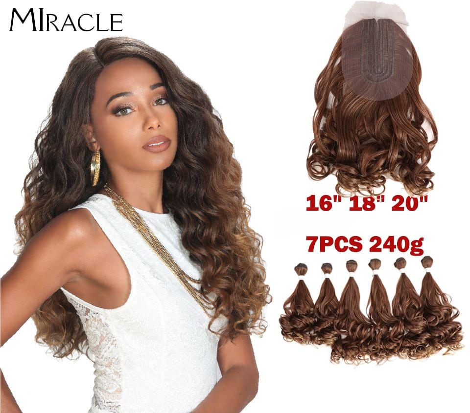 Fasci profondi di Wave di Miracle con le estensioni sintetiche dei capelli della chiusura 7 pz/pacco 12 14 fasci a 16 pollici dei capelli del tessuto di 240g Ombre Brown