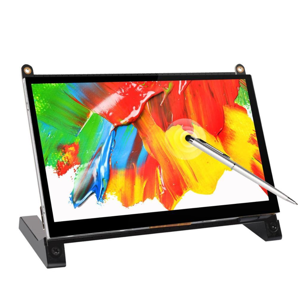 شاشة لمس محمولة 7 بوصة, شاشة تعمل باللمس 7 بوصة ، شاشة LCD ، واجهة HDMI ، لجهاز Raspberry Pi 4B 3B + 3B 2B + BB Black banpi Windows 10 8 7