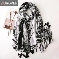 visrover new beach scarves luxury brand leaf print scarf hijab summer women tropical print scarf cotton handfeel shawl pareo
