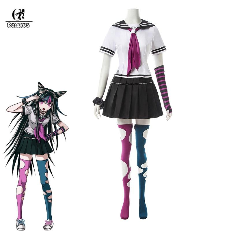 Rolecos super danganronpa mioda ibuki cosplay jogo de fantasia cosplay traje feminino uniforme escolar anime outfit