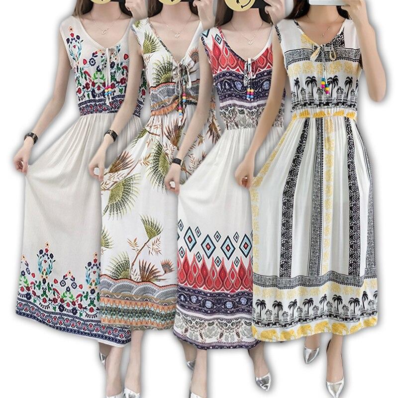 Verano 2020 Vintage mujeres vestido bohemio playa Boho elegante impreso vestidos Vintage manga estampado Floral vestidos de fiesta