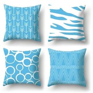 Blue Geometric Pattern Decorative Cushions Pillowcase Cushion Cover Throw Pillow Sofa Decoration