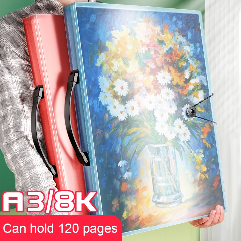File Folder A3 Picture Certificate Storage 30/40/60 Pages Insert Brochure Poster Art Works Collection Paintings Favorites