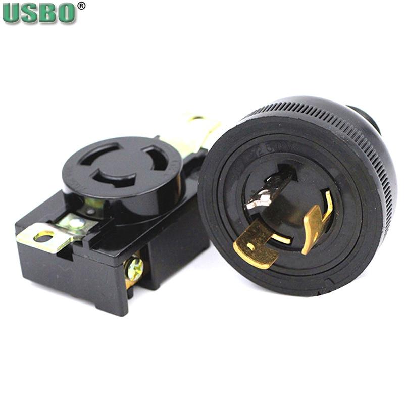 Negro 30a cobre americano hembra macho cable conector US industria generador panel de control nema enchufe