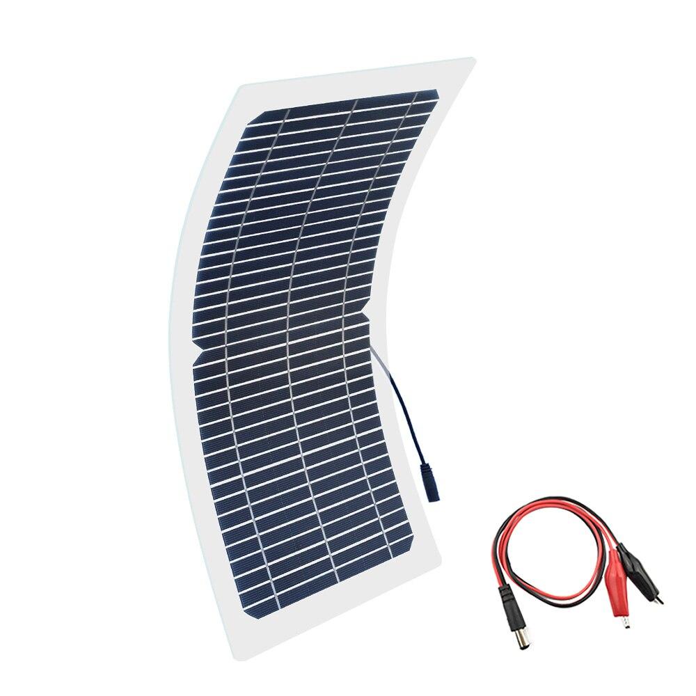 BOGUANG 18V 10w solar panel kit Transparent semi-flexible Monocrystalline cell DIY module outdoor connector DC 12v charger