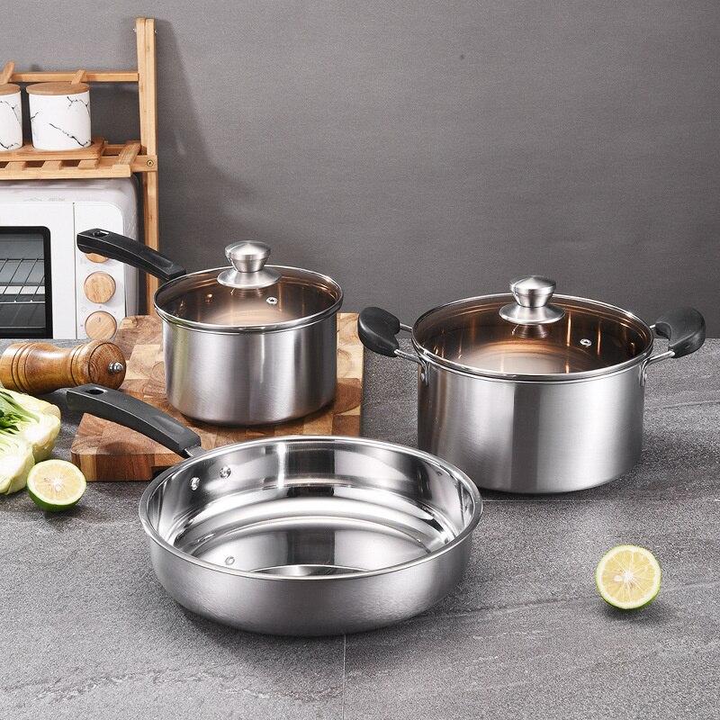 أوانٍ من الستانليس ستيل مع ثلاثة قطعة إناء للحساء قدر للحليب (لبّانة) القلي وعاء هدية وعاء يمكن أن يؤمر