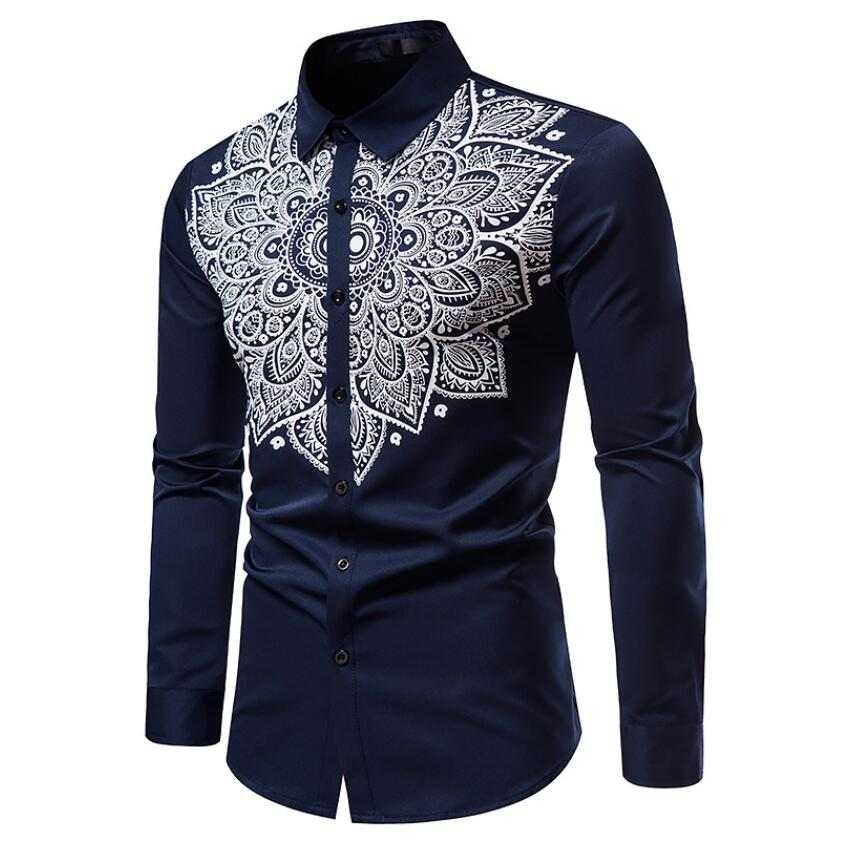 2021 летние мужские пляжные Гавайские рубашки с длинным рукавом, хлопковые повседневные рубашки с цветочным принтом, стандартная Мужская оде...