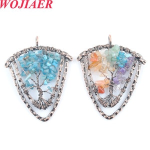 WOJIAER Natural Stone Shield Pendants for Necklaces Tree of Life Wire Wrap Chips Beads Retro 7 Chakra Reiki Jewelry PBO924