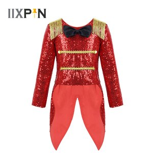 Girls Halloween Party Ringmaster Circus Cosplay Costume Long Sleeves Shiny Sequins Bowtie Fringe Swallow-Tailed Coat Role Play