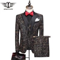 plyesxale two splits mens floral printed suits 2020 new style slim fit men suit for wedding 5xl classic jacket pants vest q875