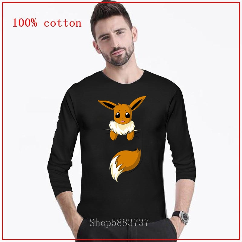Nuevas llegadas 2020 TEEHUB diseño Animal fresco de la moda de los hombres sonriendo Musical Fox impreso camiseta Tops de manga larga Hipster camiseta