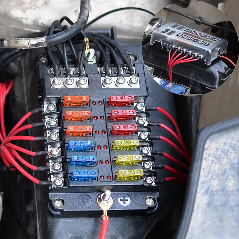 12V 32V Plastic Cover Fuse Box Holder M5 Stud With LED Indicator Light 6 Way/12 Way Blade for Auto Car Boat Marine Trike