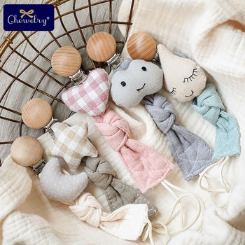 1 шт., детская пустышка, цепочка, зажим, хлопковая ткань, плюшевые куклы, животное, дерево, грызун, держатель для сосок, игрушки для новорожден...