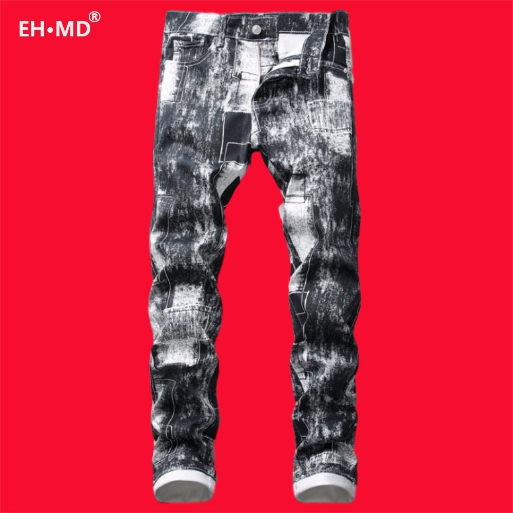 EH · MD® Digital 3D Printed Jeans Men's Black And White Mixed Color High Street High-end Pure Cotton Stretch Trousers Futuristic