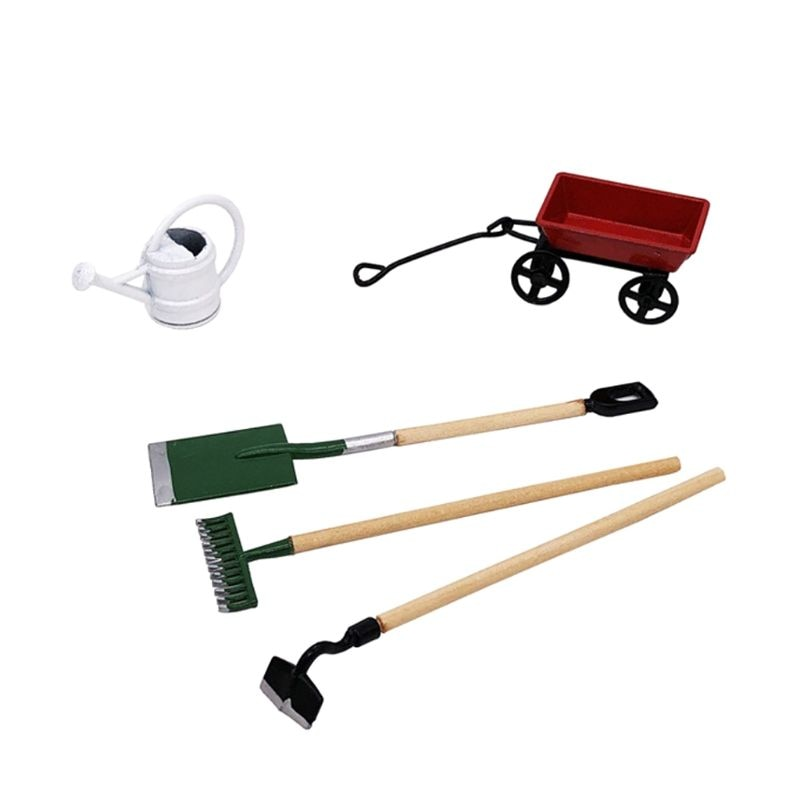 1:12 1:12 Miniature Doll House Cute Mini Metal Small Pull Cart Farming Tools Kits For Home Decor Gift Garden Furniture Ornament