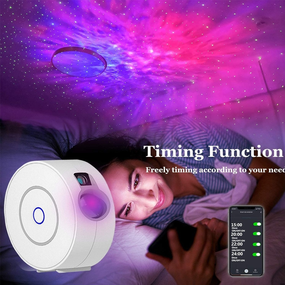 2021 New Colorful Galaxy Laser Starry Sky Night Light Led Wave Projection Lamp Smart Phone APP Control Laser Projector Star Lamp enlarge
