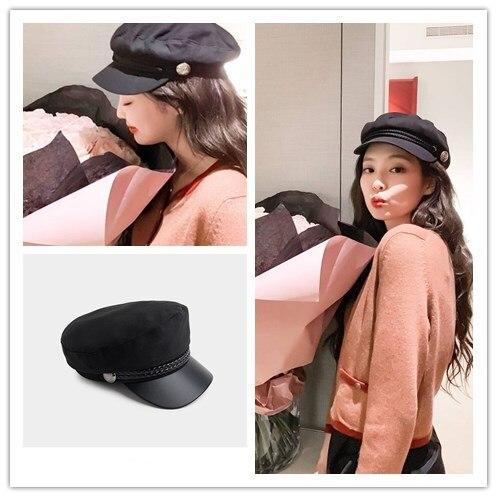 Kpop coreano celebridad misma lengua de pato negro plano top gorro de marinero señoras moda coreana boina retro estilo británico dulce octagon cap