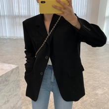 Korean Women Coat Chic Autumn Simple Lapel Two Design Loose And Long Sleeve Small Suit Short