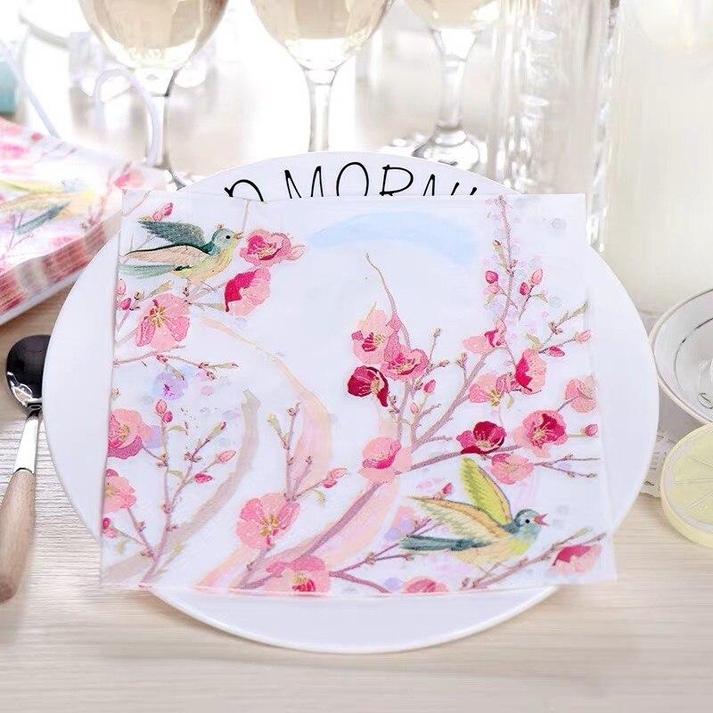 Servilletas 20 piezas 33x33cm con diseño de pájaros y flores de cerezo, servilletas de papel temáticas, servilletas decoupage decoradas para bodas, fiestas, pañuelos de madera virgen