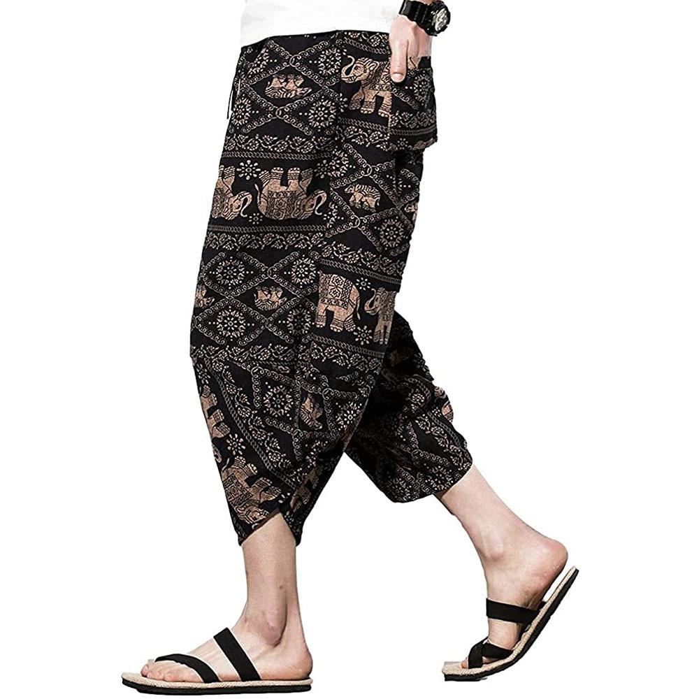 Men's Harem Capri Pants, Wide Leg Mens Capris, Summer Linen Pants,Comprehensive Training Sport Pants