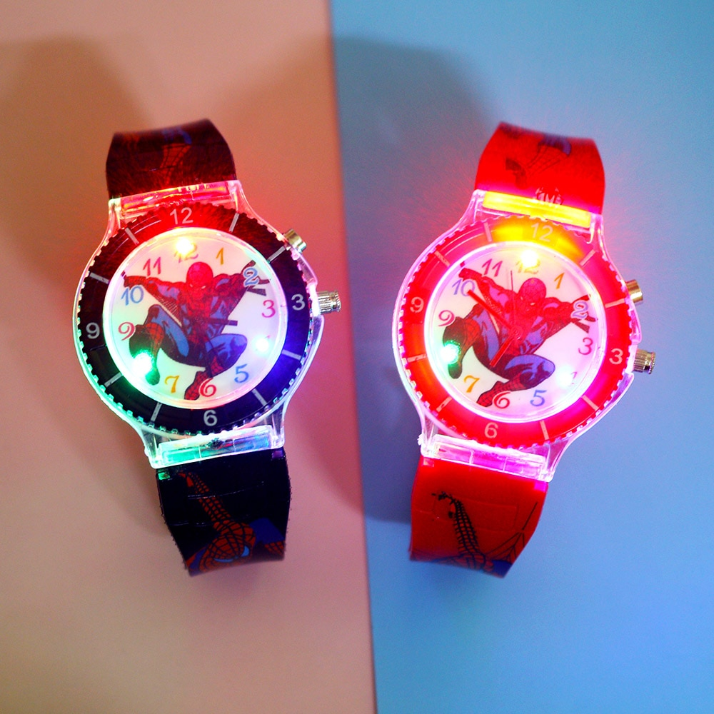Cartoon Super hero Kids Watches Colorful Flash Light with music Children Watch Boys Party Gift Clock