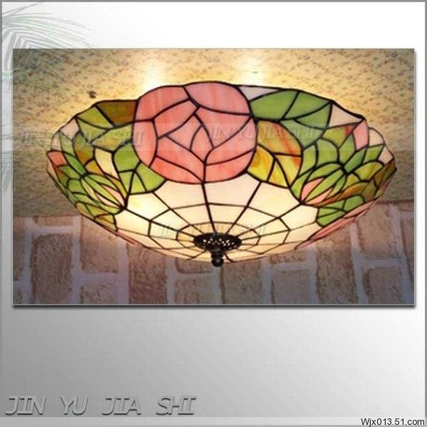 Lámpara Pastoral de techo, flor barroca europea, 16 pulgadas, E27, 110-240V, cristal...