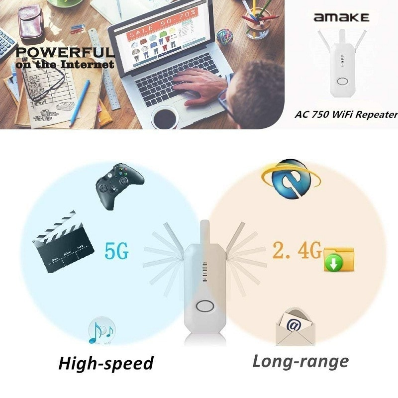 New Dual Band 2.4G / 5G WiFi Repeater Wireless AC 750Mbps Router Composite Antenna WPS Encryption MIMO Signal Extender Amplifier enlarge