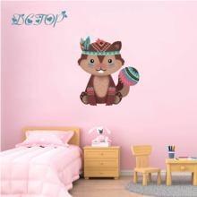 Tribal Animal autocollant mural décalcomanie chambre décor cerf hérisson renard ours écureuil vinyle bois pour pépinière enfants bébé modèle