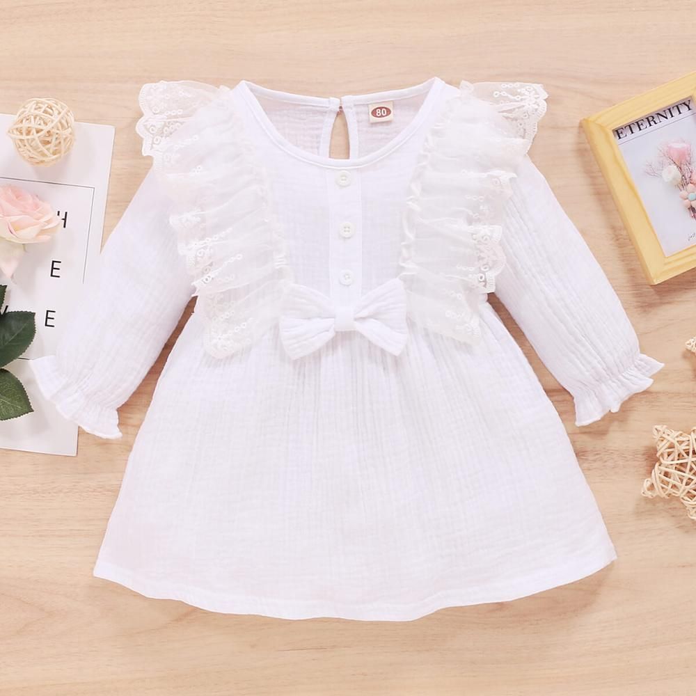 Toddler Girls 1st Birthday Dress For Baby Girl Free Shipping Clothes Solid Long Sleeve Lace Ruffled Bow-tie Kids Girls Outfits