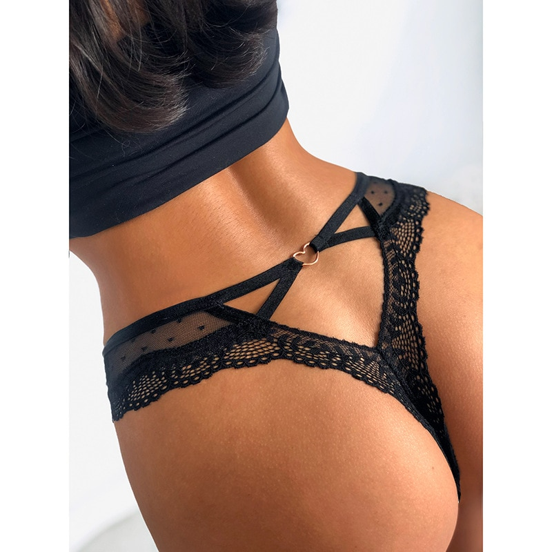 2021 Sexy Lace Panties Women Transparent Heart Low-Waist Underpant Hollow Out Thong Female Seamless G-String Underwear Lingerie