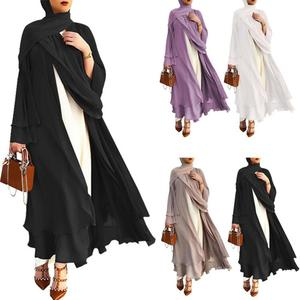 Fake Two Pieces Open Abaya Kimono Dubai Kaftan Cardigan Abayas Dresses Women Casual Robe Femme Caftan Islam Clothes